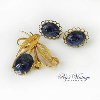 Vintage Gold Plated Lapis Lazuli Brooch Pin & Earrings Jewelry Set, Gold Filigree Jewellery