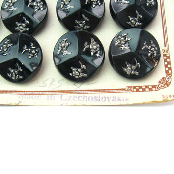 Czech Glass Buttons. Molded Black with Silver Embossed Flowers. 18mm, Set of 24 on Card. Vintage 1930s Czechoslovakia Sewing Jewelry Supply