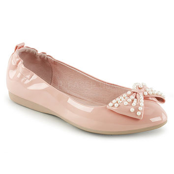 Pin Up Couture Ivy Baby Pink Patent Ballet Pearl Flats