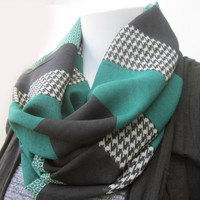 Houndstooth Infinity Scarf, Infinity Scarf, Circle Scarf, Black Scarf, Forest Green, Scarf, Infinity, Gift Idea, Trending, Spring Scarf,