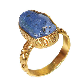 Tanzanite Ring - Raw Stone Ring - Rough Tanzanite Ring - Handmade Ring - Fashion Ring - Gold Plated Ring - Designer Ring - Gift For Her