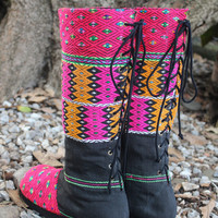 Vegan Moccasin Style Ethnic Womens Tall Boots Lace up  Boho Boots - Viva