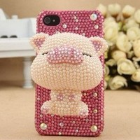 3D Pink Pig Bling DIY for cell Phone For iPhone 4 4S 5 5g Case - Deco Ken Kit