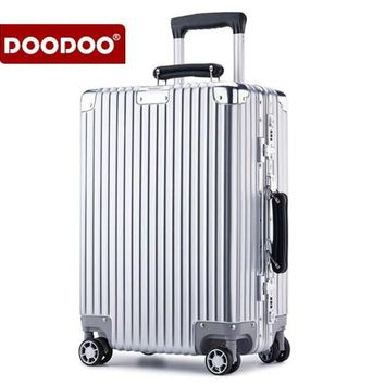 DOODOO 20 inch 24 Aluminum Rolling Luggage Boarding Spinner Wheel Suitcase valise ABS Trolley  mala de viagem koffer XL002