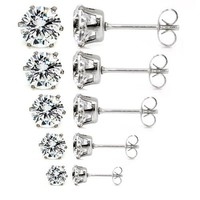 5 Pairs Assorted Sizes Wholesale Lot Stainless Steel Cubic Zirconia Stud Earrings, Hypoallergenic, Nickel-free, Lead-free (#M01. Clear White CZ x 5 Pairs, 4 Prong)