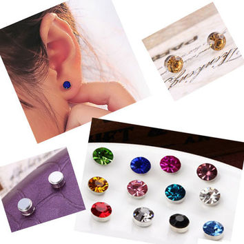 2015 New 24pcs Lot 4-6 mm No Hole Round Crystal Magnetic Magnet Earrings For Women Men Punk earrings 3061