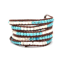"HOLIDAY CLEARANCE SALE! The Infinite Sky - 34"" Turquoise and White Beaded Brown Leather Wrap Bracelet"
