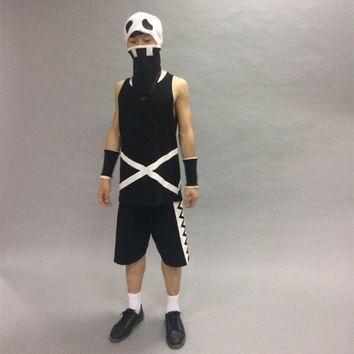 Pokemon Sun and Moon Team Skull Grunt Cosplay Clothes T-shirt Shorts Wrist Mask Cap Hat Clothes Set Halloween Props