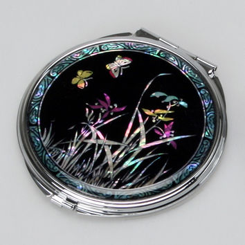 Mother of Pearl Art Orchid Flower Magnifying Black Metal Compact Cosmetic Makeup Folding Handbag Purse Beauty Pocket Hand Mirror