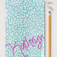 Custom Notebook Personalized Leopard Print Journal Turquoise Teal Pink Bound Note Book Notepad School Supplies Bridesmaid Gift Animal Print