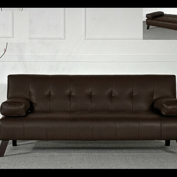 Black or Dark Brown bycast leather upholstered folding futon bed with tufted seat and backs