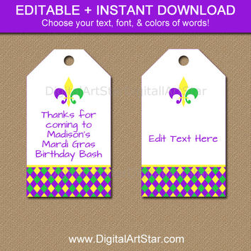 Printable Mardi Gras Tags - Editable Mardi Gras Hang Tags - Mardi Gras Birthday Tags - Mardi Gras Wine Tags - Digital Birthday Favor Tags
