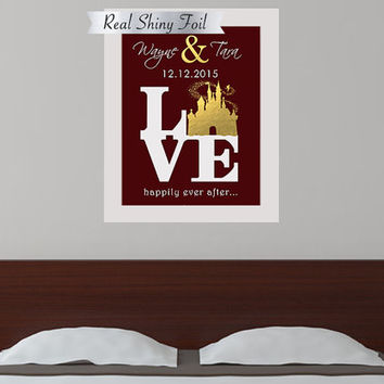 Shiny Gold Foil Disney Wedding Gift, Disney Couples Gift, Personalized Disney Anniversary, Disneyland Gift, Disneyworld Gift For Couples.