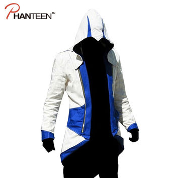Assassins Creed 3 III Connor Kenway Edward Men Hoodie Jacket Costume Video Game Cosplay Novelty Patchwork Overcoat Plus Size 5XL