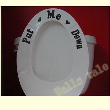 Free shipping Put me down + Flush .. Toilet Seat Sticker , Toilet Seat Sign Reminder To Clean Quote Word Lettering Art