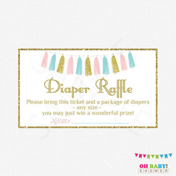 Gender Neutral Baby Shower, Diaper Raffle Tickets Raffle Sign and Raffle Cards, Pink Blue Gold Tassels, Printables, Unisex, Boy, Girl TASPBG