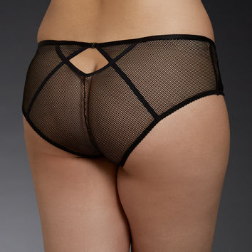 Mesh & Lace Microfiber Harness Back Hipster Panty
