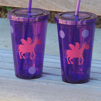 kids plastic cup, personalized tumbler, acrylic cup, stocking stuffer, cups for kids, unicorn cup, purple acrylic cup, cup with glitter