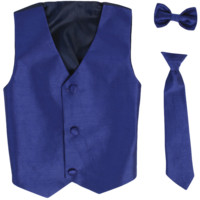 Royal Blue Vest & Tie Set Poly Silk 2 Pc with Choice of Necktie or Bow Tie (Boys 3 months - size 14)