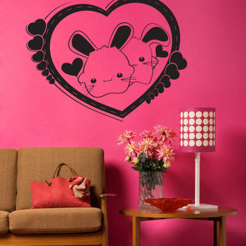 Vinyl Wall Decal Sticker Love Bunnies #1342