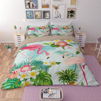 Pink Flamingo green  Duvet Cover Set Animal flower leaves Printed Bird Bedding Set King Cute Girls Bed Cover 3/4pcs Bedspread