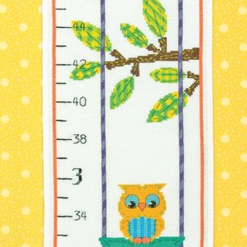 "Owl Growth Chart (14 Count) Dimensions Counted Cross Stitch Kit 9""X40"""