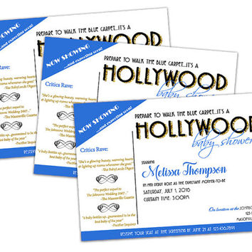 Boy Hollywood Baby Shower Invitation - Celebrity Baby Shower - Its a Boy - Blue Carpet Red Carpet - Star Baby Shower - Little Man