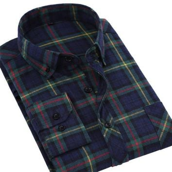 Flannel Men Shirts Non Iron Plaid