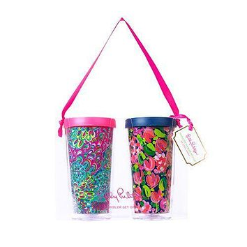 Insulated Tumbler Set in Wild Confetti/Lilly's Lagoon by Lilly Pulitzer