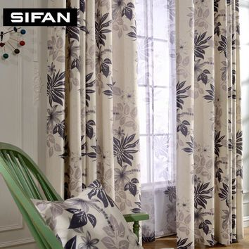 Pastoral Leaves Printed Cotton Linen Curtains