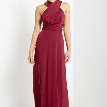 Marilyn Burgundy Multi-Way Maxi Dress
