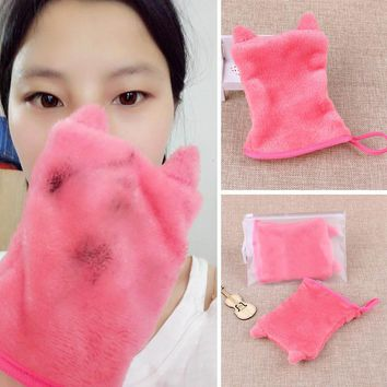 Red Reusable Orecchiette Microfiber Facial Cloth Face Towel Makeup Remover Cleansing Glove Tool  H7JP