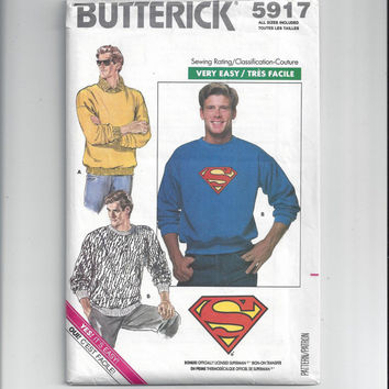 Butterick 5917 Pattern for Men's Top or Sweatshirt with Superman Iron-On Transfer. All Sizes. From 1987, Very Easy, FACTORY FOLDED & UNCUT