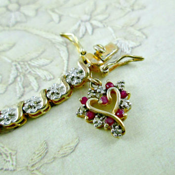 Vintage Tennis Bracelet Sterling Silver Gold Setting Heart with Rubies Charm Illusion Setting Gold Clad Overlay 7 Inches Valentines Gift