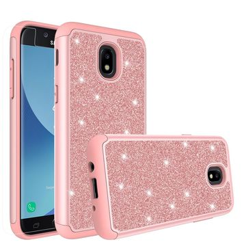 Samsung Galaxy J3 2018, J3 V 3rd Gen, J3 Orbit, Express Prime 3, SM-J337A Case, J3 Star, J3 Achieve, J3 Aura, Amp Prime 3, Glitter Bling Heavy Duty Shock Proof Hybrid Case with [HD Screen Protector] Dual Layer Protective Phone Cover - Rose Gold