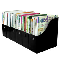Evelots 6 Magazine/File Holders With Adhesive Labels, Black Or White