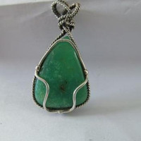 Chrysoprase Cabochon Pendant set in 925 Sterling Silver Custom Setting