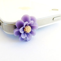 Purple Anemone Flower iPhone Dust Plug- Anti-Dust Plug For Headphone Jack- Cellphone/ iPhone Accessories-