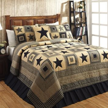 Colonial Country Primitive Rustic Jamestown Black and Tan Star Quilt Sets