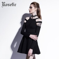 Rosetic Gothic Mini Dress Black Fashion Hollow Fall Women Casual Dress Goth Empire A-Line Young Short O-Neck Gothics Mini Dress