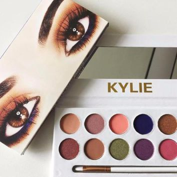 Newest 12Color kylie Royal Peach Palette Eyeshadow with Pen Brush Cosmetics Eye shadow Kylie Jenner 12 color Eyeshadow Palette Kyshadow