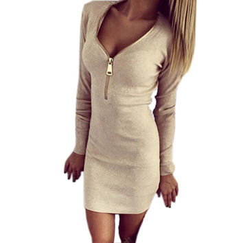 Autumn Winter Women Sexy Deep V Bodycon Dress Solid Color Fashion Zipper V-neck Stretch Mini Dresses 2016 Trend Vestidos GV090
