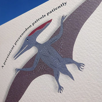 Dinosaur card, this hand-illustrated pteranodon, soars through the jurassic skies, features its' own tongue-twisting phrase, greeting card