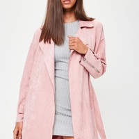 Missguided - Pink Faux Suede Belted Trench Coat