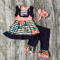 girls baby Summer cotton navy coral striped outfit floral clothes boutique ruffles capris kids bow sets matching  accessories