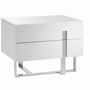 Casabianca Home COLLINS CB-1302-N Nightstand / End Table High Gloss White Lacquer