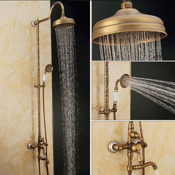 Antique Brass Rainfall Set Faucet + Tub Tap + Hand held Shower