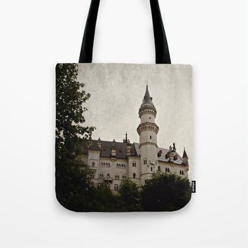 Art Tote beach Bag Neuschwanstein Castle photography Fashion photograph grey gray black Gothic photo texture German Germany Renaissance time