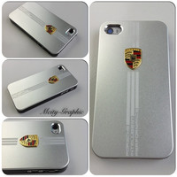 USA iPhone 4 / 4S  Case PORSCHE Series Sport Car Carbon Aluminum metallic Cover  - Silver