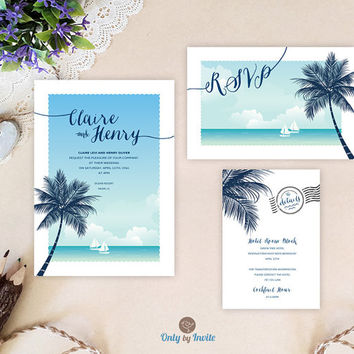 Destination wedding invitations printed | Beach themed wedding set: invitation, RSVP, enclosure card | Hawaiian wedding invitations